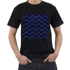 Chevron9 Black Marble & Blue Leather (r) Men s T Shirt (black) by trendistuff