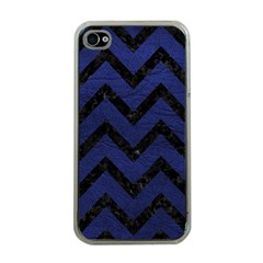 Chevron9 Black Marble & Blue Leather (r) Apple Iphone 4 Case (clear) by trendistuff