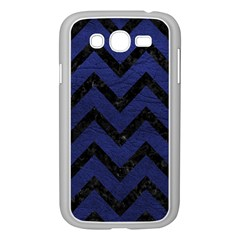 Chevron9 Black Marble & Blue Leather (r) Samsung Galaxy Grand Duos I9082 Case (white) by trendistuff