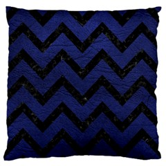 Chevron9 Black Marble & Blue Leather (r) Large Flano Cushion Case (two Sides) by trendistuff