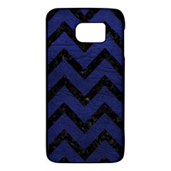 Chevron9 Black Marble & Blue Leather (r) Samsung Galaxy S6 Hardshell Case  by trendistuff