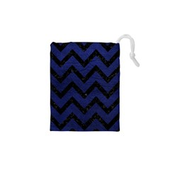 Chevron9 Black Marble & Blue Leather (r) Drawstring Pouch (xs) by trendistuff