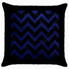 Chevron9 Black Marble & Blue Leather Throw Pillow Case (black) by trendistuff