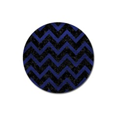 Chevron9 Black Marble & Blue Leather Magnet 3  (round) by trendistuff