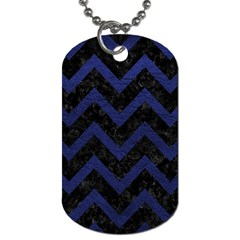 Chevron9 Black Marble & Blue Leather Dog Tag (two Sides) by trendistuff