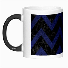 Chevron9 Black Marble & Blue Leather Morph Mug by trendistuff