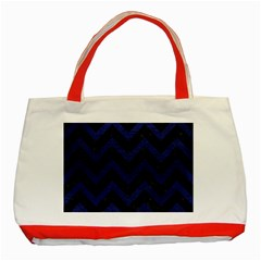 Chevron9 Black Marble & Blue Leather Classic Tote Bag (red) by trendistuff