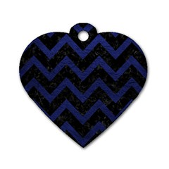 Chevron9 Black Marble & Blue Leather Dog Tag Heart (one Side) by trendistuff
