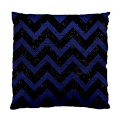 Chevron9 Black Marble & Blue Leather Standard Cushion Case (two Sides) by trendistuff
