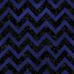 Chevron9 Black Marble & Blue Leather Magic Photo Cube by trendistuff