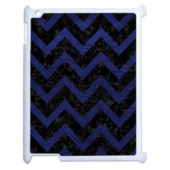Chevron9 Black Marble & Blue Leather Apple Ipad 2 Case (white) by trendistuff