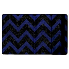 Chevron9 Black Marble & Blue Leather Apple Ipad 2 Flip Case by trendistuff
