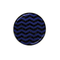 Chevron3 Black Marble & Blue Leather Hat Clip Ball Marker (4 Pack) by trendistuff