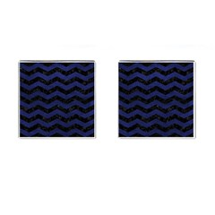 Chevron3 Black Marble & Blue Leather Cufflinks (square) by trendistuff