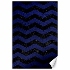 Chevron3 Black Marble & Blue Leather Canvas 24  X 36  by trendistuff