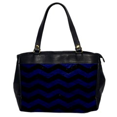 Chevron3 Black Marble & Blue Leather Oversize Office Handbag by trendistuff