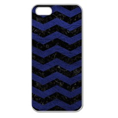 Chevron3 Black Marble & Blue Leather Apple Seamless Iphone 5 Case (clear) by trendistuff