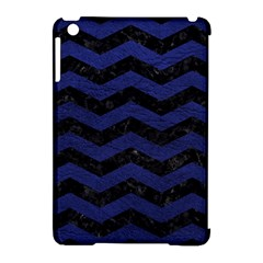 Chevron3 Black Marble & Blue Leather Apple Ipad Mini Hardshell Case (compatible With Smart Cover) by trendistuff
