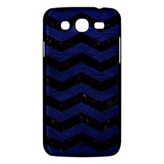 Chevron3 Black Marble & Blue Leather Samsung Galaxy Mega 5 8 I9152 Hardshell Case  by trendistuff