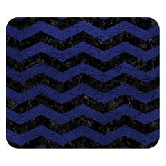 Chevron3 Black Marble & Blue Leather Double Sided Flano Blanket (small) by trendistuff