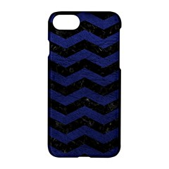 Chevron3 Black Marble & Blue Leather Apple Iphone 7 Hardshell Case by trendistuff