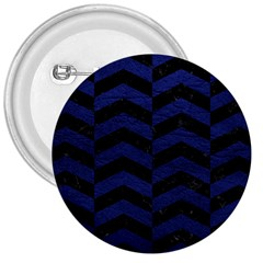 Chevron2 Black Marble & Blue Leather 3  Button by trendistuff