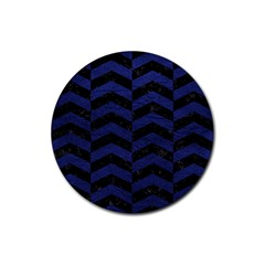 Chevron2 Black Marble & Blue Leather Rubber Coaster (round) by trendistuff