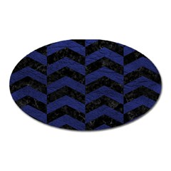 Chevron2 Black Marble & Blue Leather Magnet (oval) by trendistuff