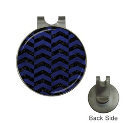 Chevron2 Black Marble & Blue Leather Golf Ball Marker Hat Clip by trendistuff