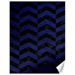 Chevron2 Black Marble & Blue Leather Canvas 18  X 24  by trendistuff