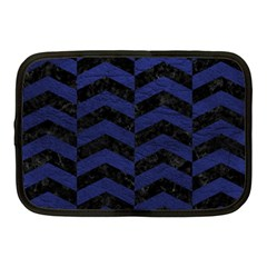 Chevron2 Black Marble & Blue Leather Netbook Case (medium) by trendistuff