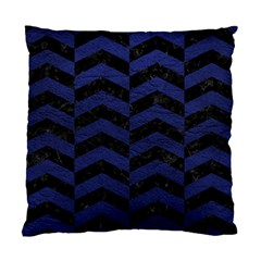 Chevron2 Black Marble & Blue Leather Standard Cushion Case (two Sides) by trendistuff