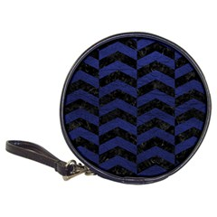 Chevron2 Black Marble & Blue Leather Classic 20 Cd Wallet by trendistuff