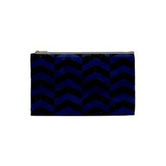 Chevron2 Black Marble & Blue Leather Cosmetic Bag (small) by trendistuff