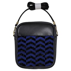 Chevron2 Black Marble & Blue Leather Girls Sling Bag by trendistuff