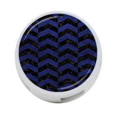 Chevron2 Black Marble & Blue Leather 4 Port Usb Hub (two Sides) by trendistuff