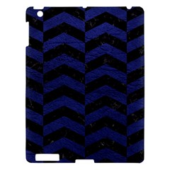 Chevron2 Black Marble & Blue Leather Apple Ipad 3/4 Hardshell Case by trendistuff