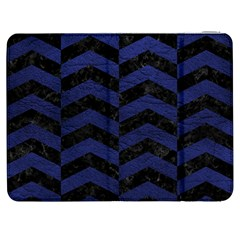 Chevron2 Black Marble & Blue Leather Samsung Galaxy Tab 7  P1000 Flip Case by trendistuff