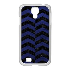 Chevron2 Black Marble & Blue Leather Samsung Galaxy S4 I9500/ I9505 Case (white) by trendistuff