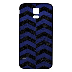 Chevron2 Black Marble & Blue Leather Samsung Galaxy S5 Back Case (white) by trendistuff