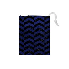Chevron2 Black Marble & Blue Leather Drawstring Pouch (small) by trendistuff