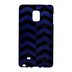 Chevron2 Black Marble & Blue Leather Samsung Galaxy Note Edge Hardshell Case by trendistuff