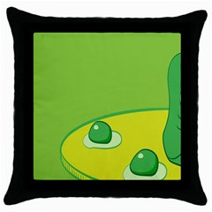 Food Egg Minimalist Yellow Green Throw Pillow Case (black) by Alisyart