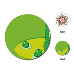 Food Egg Minimalist Yellow Green Playing Cards (round)