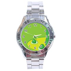 Food Egg Minimalist Yellow Green Stainless Steel Analogue Watch by Alisyart
