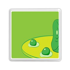 Food Egg Minimalist Yellow Green Memory Card Reader (square)