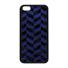 Chevron1 Black Marble & Blue Leather Apple Iphone 5c Seamless Case (black) by trendistuff