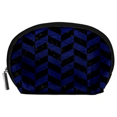 Chevron1 Black Marble & Blue Leather Accessory Pouch (large) by trendistuff