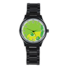 Food Egg Minimalist Yellow Green Stainless Steel Round Watch by Alisyart