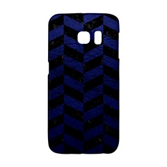 Chevron1 Black Marble & Blue Leather Samsung Galaxy S6 Edge Hardshell Case